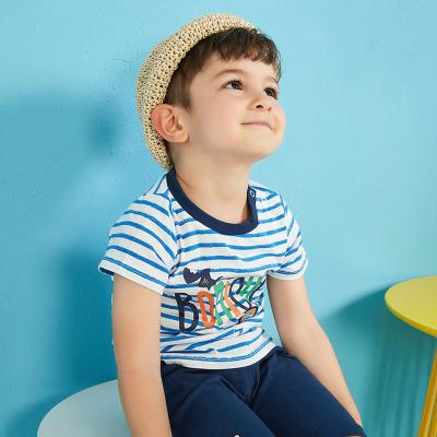 【99元4件】moomoo童裝男童短袖T恤新款幼童純棉條紋寶寶兒童裝男童夏裝