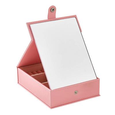 韓版多功能高清化妝鏡首飾盒 桌面化妝品首飾收納盒 PU純色化妝盒 粉色