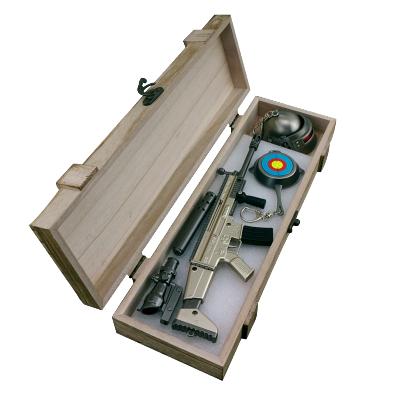 榮達(RONGDA)絕地求生合金武模型器吃雞玩具awm吃雞周邊器兵落地成盒套裝刺激戰場鑰匙扣 落地成盒大號scar三件套