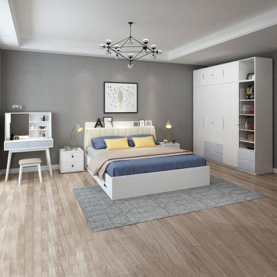【套房】木月 北歐臥室套房 雙人床衣柜(不含頂柜和邊柜)梳妝臺床頭柜組合六件套主臥家具 素錦系列