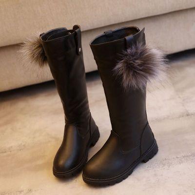 莎丞 女童長筒靴子鞋秋冬皮靴中大童加絨厚底雪地靴高筒軟底兒童女孩鞋