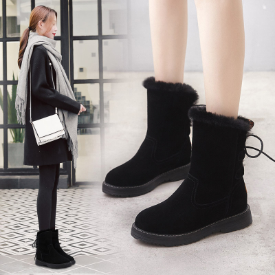 ORCCISEM奥驰森 雪地靴女冬季新款韩版加绒保暖棉鞋女士坡跟平底雪地靴中筒防滑雪地棉女款保暖鞋女