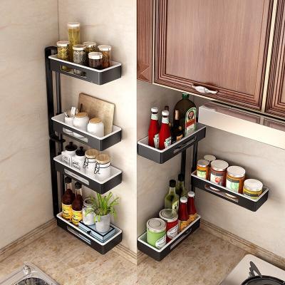 家佰利(jiabaili) 廚房置物架壁掛免打孔置物架掛件收納架調料架調味架旋轉角縫隙置物架廚房用品