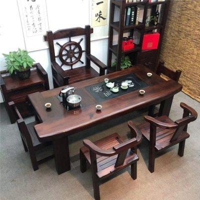 顧致老船木茶桌茶具套裝一體辦公室茶臺桌椅組合新中式家用實木小茶幾
