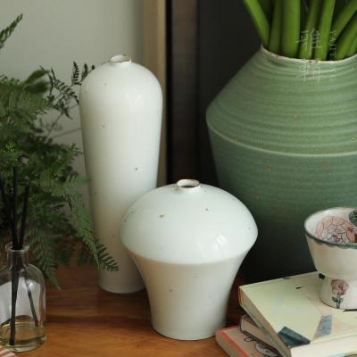 雅集堂 素顏 青白瓷花器花瓶花插 新式梅瓶 茶室家居空間陳設【定制】 一對點金