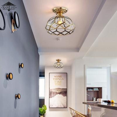 全銅入戶玄關廳燈廚房陽臺走廊過道臥室燈美式吸頂燈衣帽間燈具網紅含LED三色燈泡