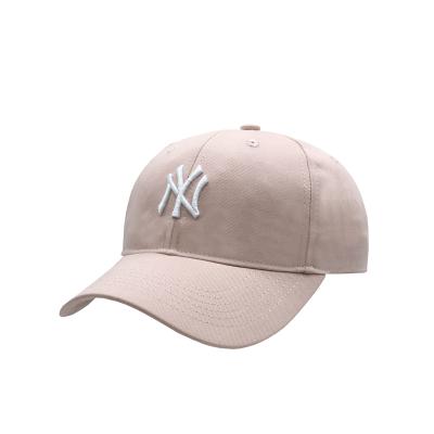 MLB洋基隊NY棒球帽軟頂白標男女通用遮陽帽鴨舌帽可調節帽子 淺粉NY
