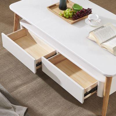 顾致北欧茶几简约现代电视柜组合 钢化玻璃小户型烤漆原木色茶桌