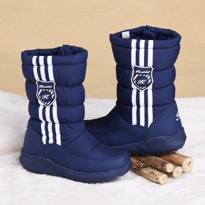 防滑冰爪男童雪地靴长靴保暖靴子加绒儿童冬靴女童加厚大棉中童