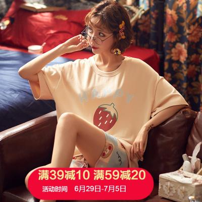 朗衣貝(Lang Yi Bei)2020夏季新款睡衣女薄款棉短袖短褲夏天學生女士韓版休閑家居服套裝8236