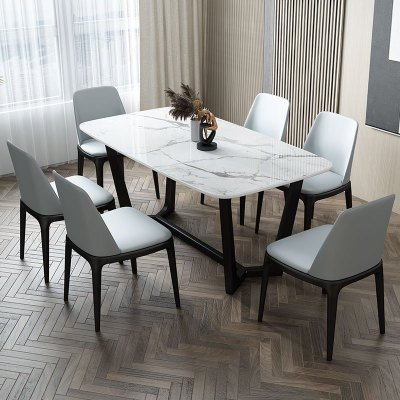 一米色彩 餐桌 北歐大理石餐桌長方形餐桌輕奢后現代吃飯桌子黑色餐桌椅組合簡約港式 餐廳家具