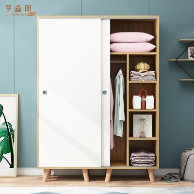 罗森朗 北欧简约实木衣柜简易衣柜定制衣橱出租公寓板式组装移推拉门衣柜