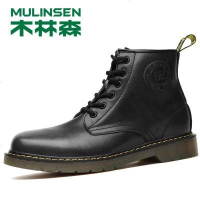 方男鞋冬季马丁靴男中帮英伦工装靴子潮流高帮机车靴