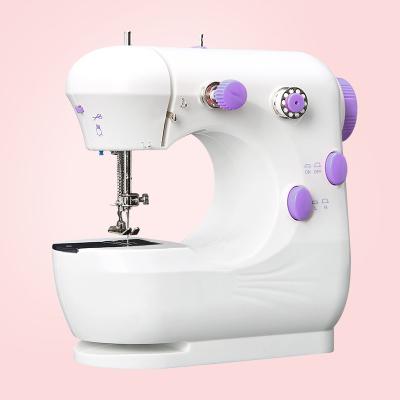 家用電動迷你多功能家縫紉機法耐小型手動吃厚縫紉機微型衣車 云漫白紫