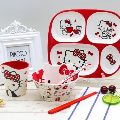 防摔餐盤兒童餐盤分格盤碗杯勺筷子創意兒童餐具套裝kitty學生碗【定制】 紅結KT(餐盤+勺+筷+碗+杯)五件套