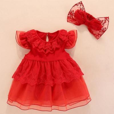 抹炫(MOXUAN)婴儿百岁满月服周岁礼服裙三四个月女婴公主衣服夏女宝宝洋气