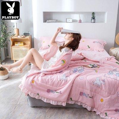 花花公子(PLAYBOY) ins韓式水洗棉夏被空調被夏季薄夏涼被四件套雙人單人三件套