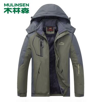 木林森(MULINSEN)戶外沖鋒衣男士加絨加厚冬防風外套登山服WK1688