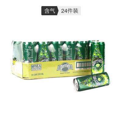 【聚會派對人氣款】巴黎水(Perrier)天然氣泡礦泉水(青檸味)330ml*24罐/箱 法國進口