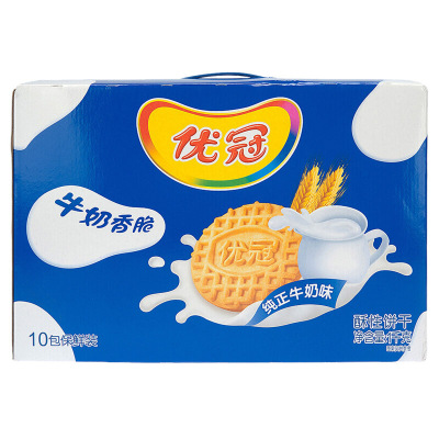 優冠牛奶香脆餅干盒裝1000G整箱營養早餐零食年貨特產小吃