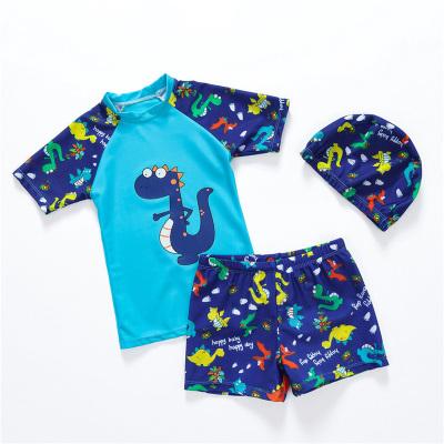 夏季儿童泳衣男童泳裤套装男孩分体小中大童小恐龙防晒游泳衣宝宝送帽 TCVV