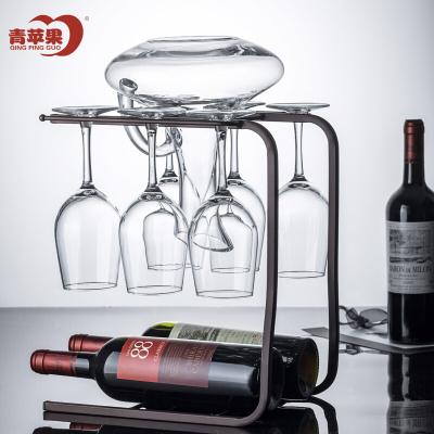 青蘋果 紅酒杯高腳杯葡萄酒杯套裝8件套紅酒杯*6 醒酒器*1 杯架*1S35/L8