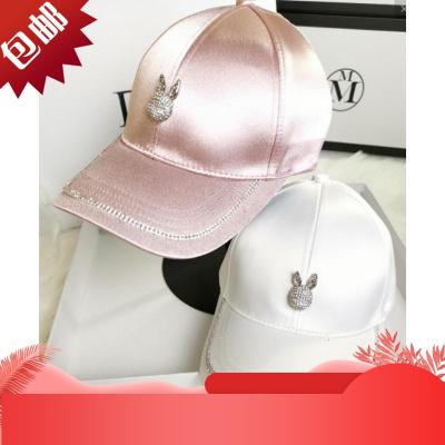 帽子女日本時尚水鉆棒球帽百搭嘻哈帽潮戶外遮陽帽休閑鴨舌帽[定制] 白色 可調節