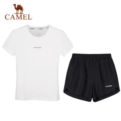 骆驼运动套装女士2020夏季新款T恤休闲跑步健身衣服宽松短裤男士