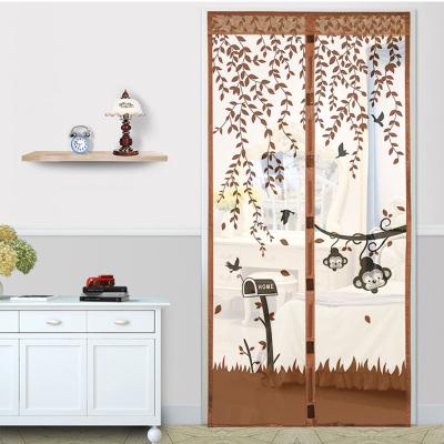 防蚊門簾磁性家用靜音紗窗紗網自吸夏季紗門-猴子咖啡+2包粘扣-寬90X高205CM