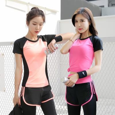瑜伽服运动服套装女夏薄款魅扣休闲速干衣女跑步训练健身房瑜伽服套装女