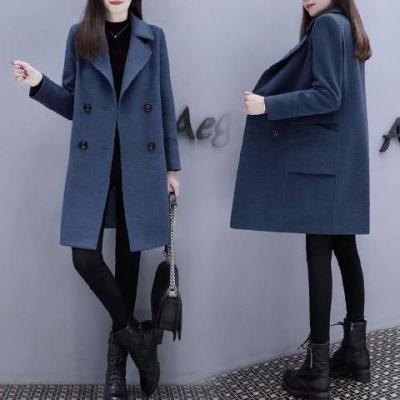 毛呢大衣2020春秋新款韓版女裝中長款寬松顯瘦小個子龍鳳呢外套威珺
