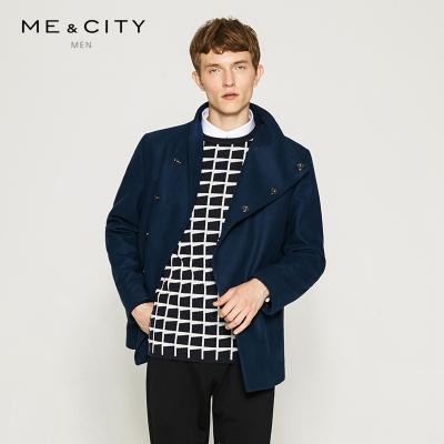 【3件1.5折价:104.4】MECITY男装斜襟直筒型款轻薄休闲羊毛呢大衣外套男