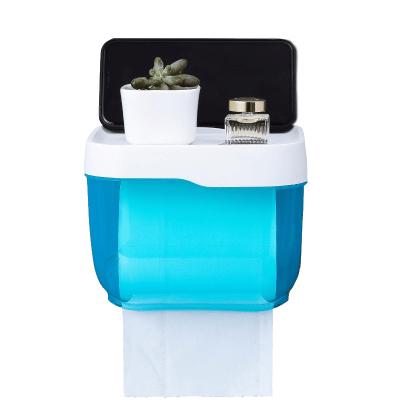 衛生間紙巾盒廁所衛生紙置物架廁紙盒免打孔防水卷紙筒創意抽紙盒 小號藍色