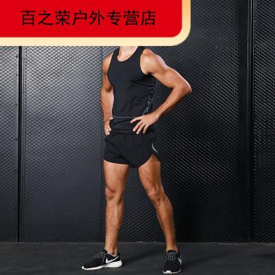 珍自由(ZHENZIYOU) 運動套裝男緊身馬拉松短褲背心衣服夏季速干健身田徑訓練跑步