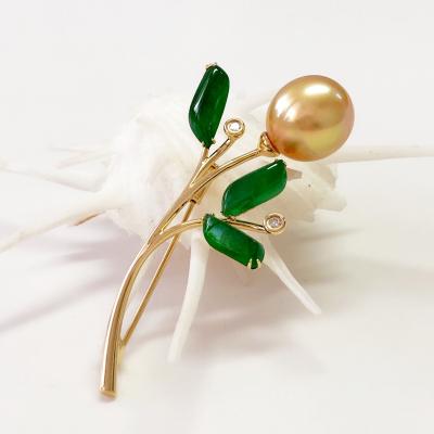 緣源珠寶 天然海水珍珠胸針 18K鉆石翡翠珍珠三者完美搭配出高級珍珠胸飾 男女款