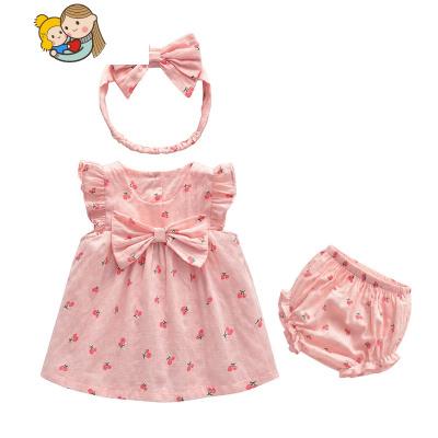 女寶寶夏裝連衣裙可愛粉色周歲嬰兒禮服公主裙嬰幼兒女童裙子