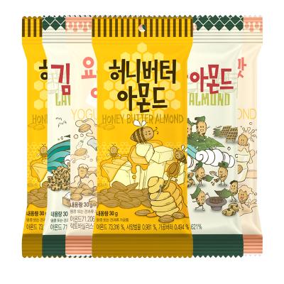6件装| 汤姆农?。═om's Farm)扁桃仁 蜂蜜味*2+海苔*2+乳酸菌*2 30g/袋 韩国进口 进口坚果