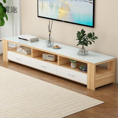 電視柜茶幾組合現代簡約小戶型家用客廳鋼化實木電視機柜定制 1.2M電 1.6M電視柜(淺胡桃+白抽+白實木 組裝