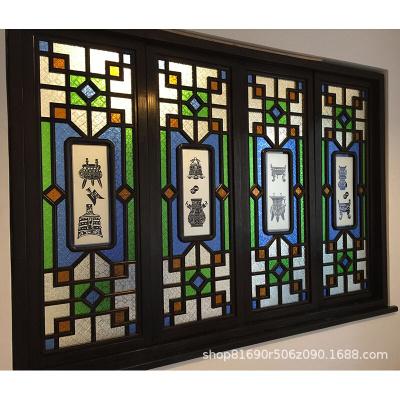 苏宁放心购厂家定制实木花窗玻璃工艺满洲窗西关风格满洲窗玻璃木格屏风新款简约