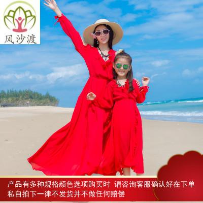 夏季母女亲子装长袖显瘦连衣裙女波西米亚海边度假防晒沙滩裙大码图片件数为展示