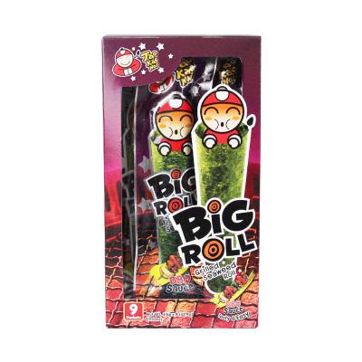泰國進口小零食 老板仔bigroll脆紫菜即食烤辣海苔卷燒烤味27g/盒包郵兒童喜愛