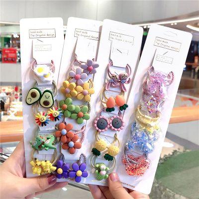 搭啵兔韓版兒童發繩小女孩扎頭繩不傷發發圈花朵套裝可愛卡通寶寶小皮筋