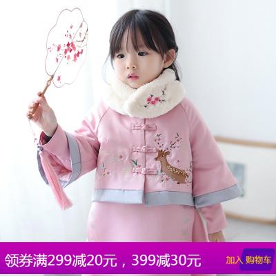 女童汉服秋冬中国风童装儿童过年喜庆宝宝装新年拜年服女宝宝唐装