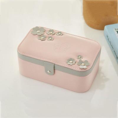 歐式珠寶首飾盒 多層便攜式飾品收納箱 pu創意首飾盒 粉紅色