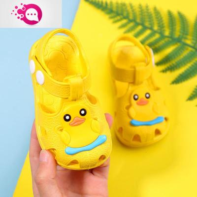 兒童涼鞋夏男女包頭軟底防滑學步鞋寶寶0-3歲嬰幼兒防尿塑膠鞋子 綠彩虹光