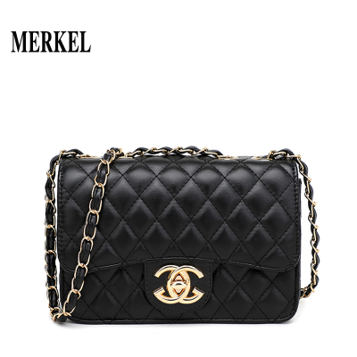 莫爾克(MERKEL)法國小眾包包女包新款2020韓版斜挎百搭時尚網紅小黑包質感鏈條潮