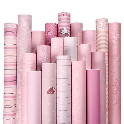 粉色墻紙自粘10米壁紙女孩臥室防水防潮桌面衣柜子家具翻新墻貼紙