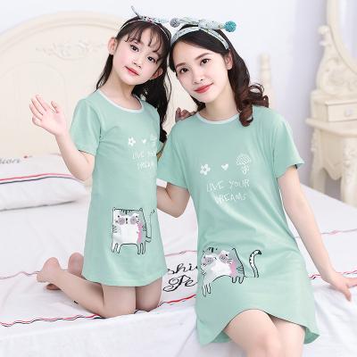 依藍圣雪女童純棉睡裙親子寶寶薄款夏季裙子女孩母女連衣裙兒童短袖睡衣裙