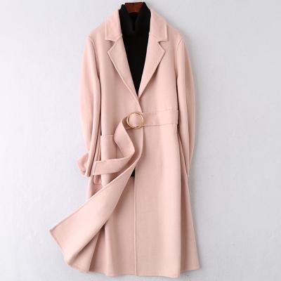 2020春冬新款雙面毛呢大衣時尚流行羊毛呢子女士長款外套