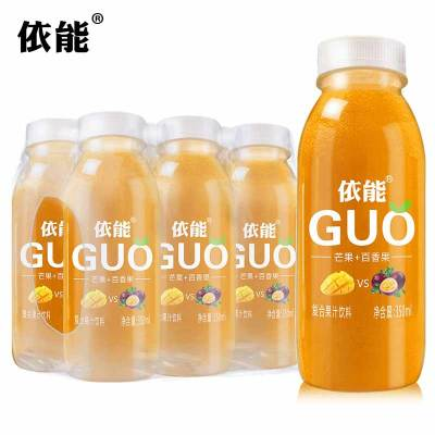 依能GUO百香果+芒果味350ml*6瓶裝混合果汁塑包裝